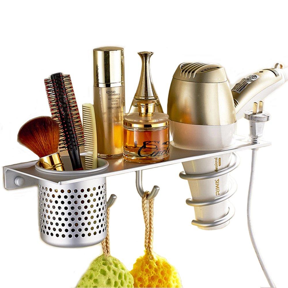 EtechMart Eco-friendly Aluminum Multifunctional Bathroom Make up Organizer w/ Hair Dryer Holder& Canister& Towel Hooks CECOMINOD064316