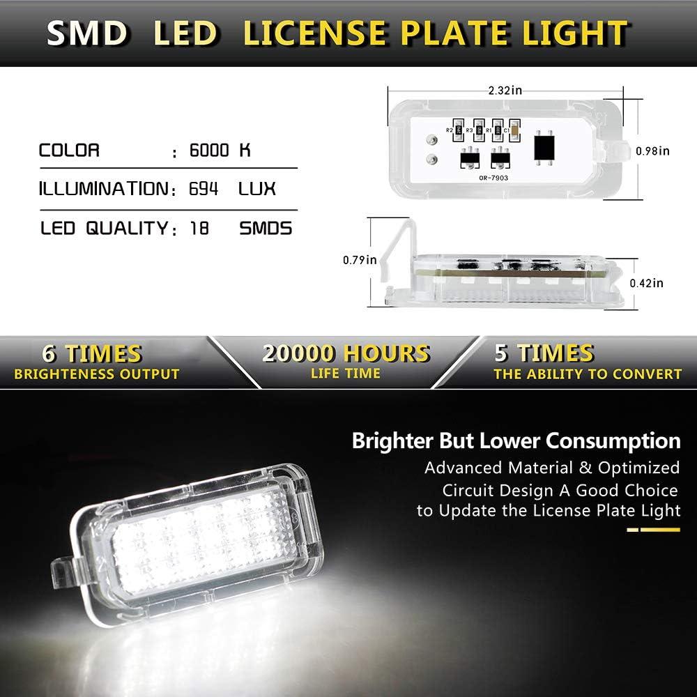 MOFORKIT LED License Plate Light Lamp Assembly For 2005-2015 Toyota Tacoma Pickup Truck 6000K Dimond White Pack of 2
