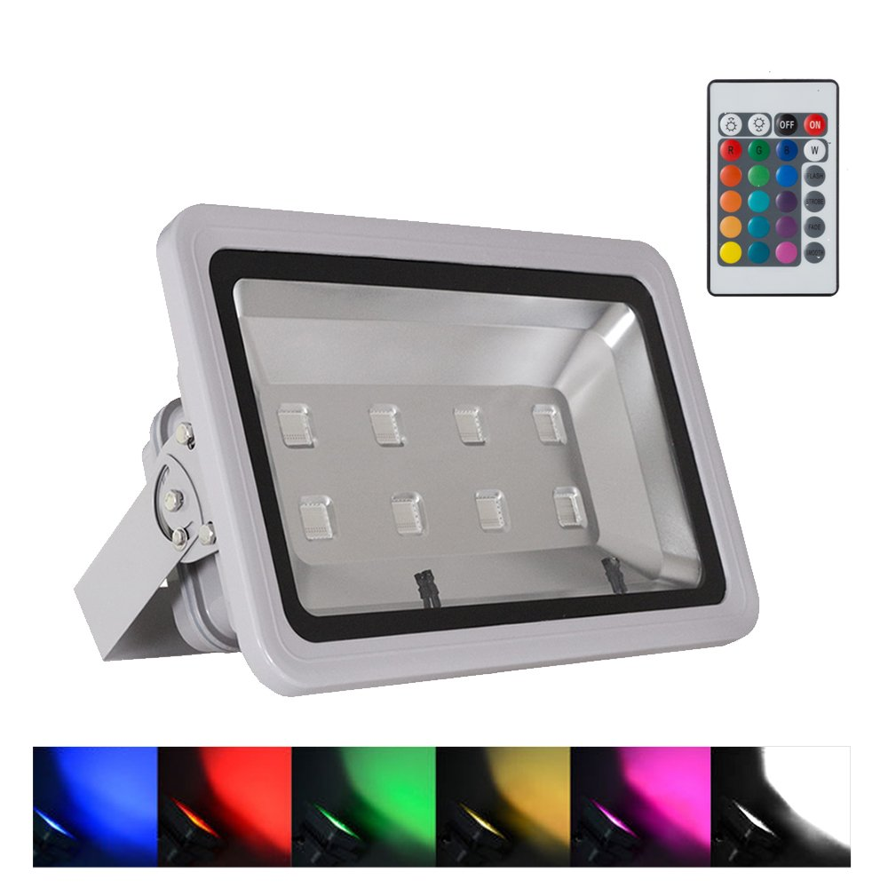 WEDO 400W RGB Led Flood Light IP66 Waterproof Gray Shell 16 Colors Change 4 Modes with Remote Control Wall Wash Light Security Light for Outdoor Garden Landscape Yard Car Park(Plug is not included)