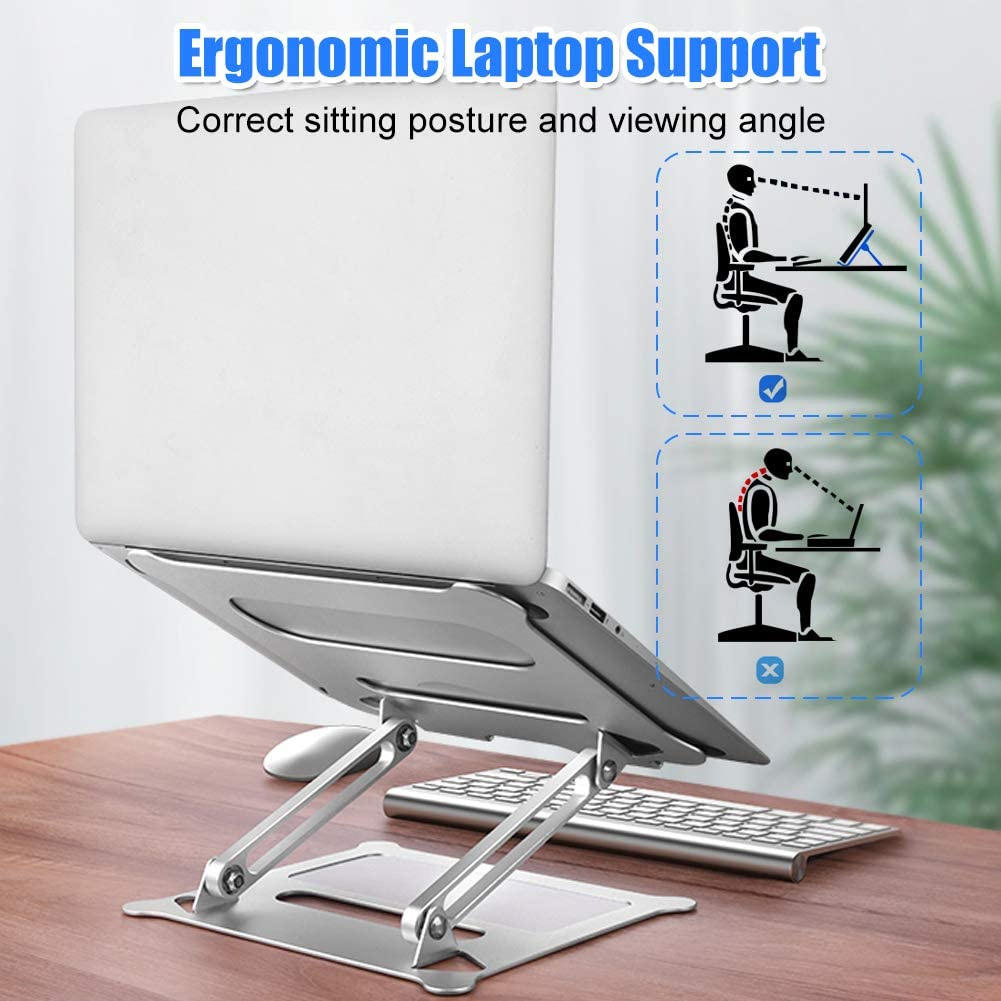 Woolala Any Height /& Angle Adjustable Laptop Stand for Desk Stable Aluminum Laptop Riser Foldable Macbook Air//Ipad Support
