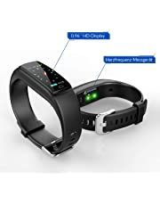 JAZIPO Fitness Armband mit Pulsmesser, Wasserdicht IP67 Fitness Tracker, Smartwatch GPS Aktivitätstracker, Vibrationsalarm Anruf/SMS, für Damen Männer