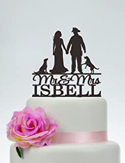 Amazoncom Wedding Cake Topper Firefighter and Bride Black