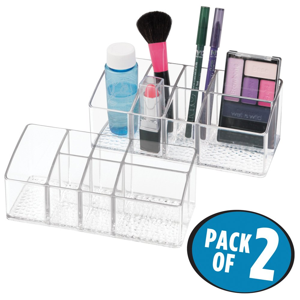 mDesign Cosmetic Organizer for Vanity Cabinet to Hold Makeup, Beauty Products - Pack of 2, 7 Compartments, Clear