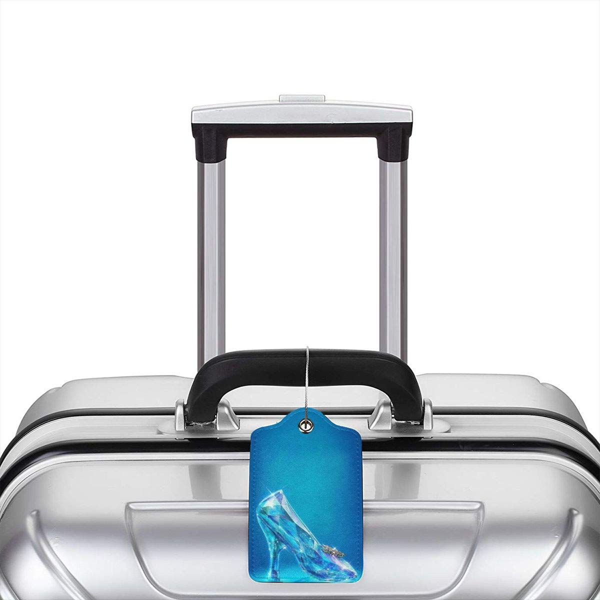 Fashion Cinderellas Crystal Shoes Soft Leather Luggage Tags With Privacy Cover 1-4 Pcs Choose Suit For Travel,Vacation