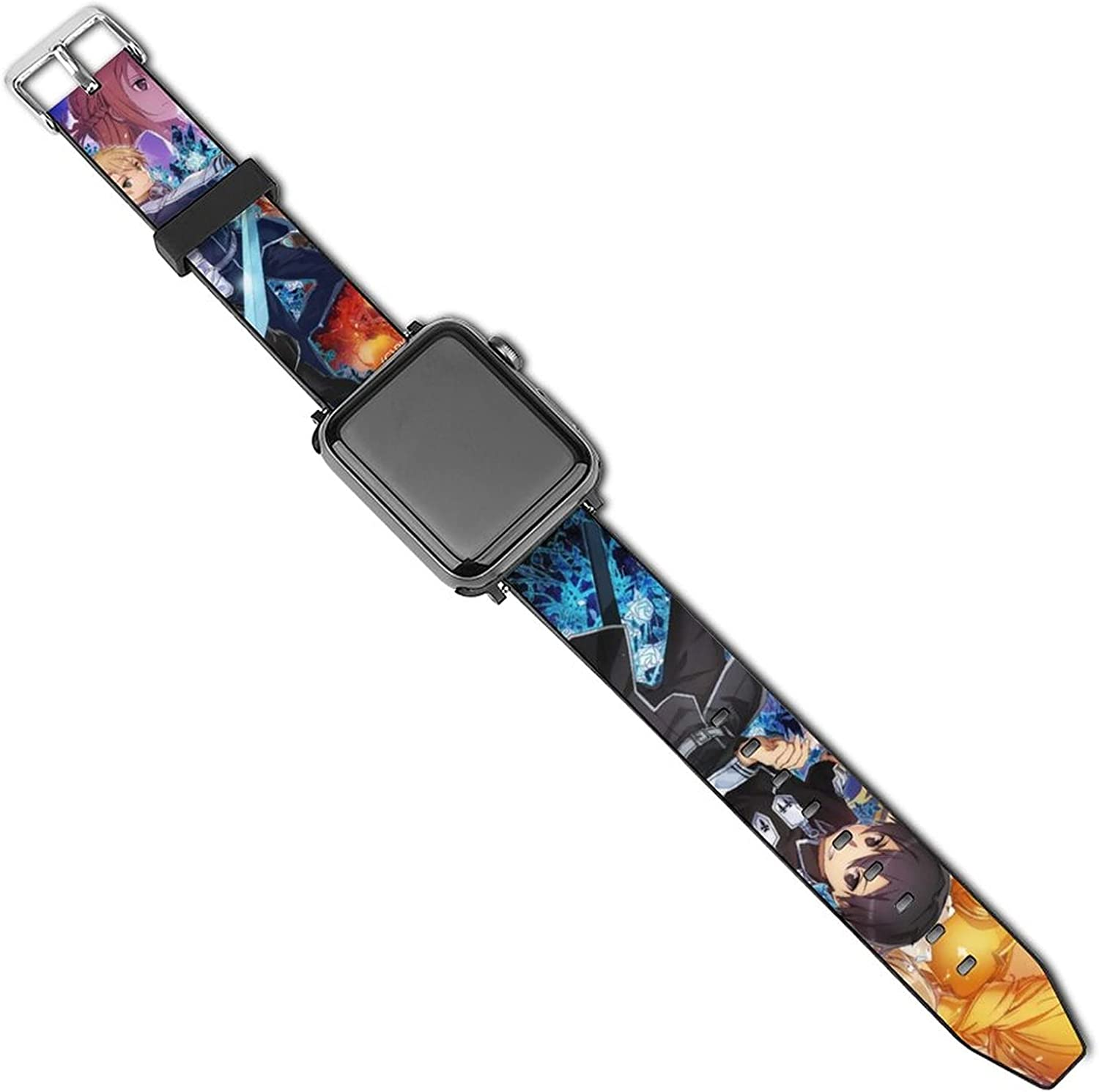 Sword Art Online Animation Compatible with Apple Watch Band 42mm 44mm,38mm 40mm Leather Replacement Band Fashion Strap Compatible with iWatch Series 5 4 3 2 1 for Women Men