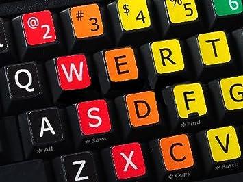 Qwerty Keys Inglés UK/US Reino Unido Grandes Letras Pegatinas de Teclado no Transparentes de Multicolor con Letras en Blanco y Negro - Apto para ...