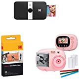 KODAK Smile Instant Print Digital Camera (Black), with Extra Paper and Kids Instant Print Camera & Video Camcorder Bundle wit