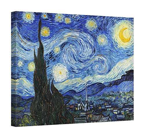 (Easy Art Prints Vincent Van Gogh's 'Starry Night' Premium Canvas Art 8 x 10)