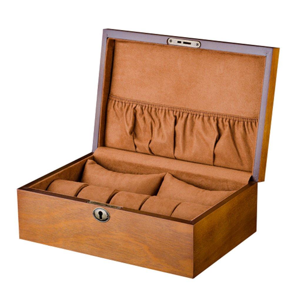 ウォッチボックス男性/女性のための木製大7グリッドビッグピローウォッチジュエリー収納ケース旅行やショップウィンドウの表示のためのロックジュエリーコレクション/デコレーション B07F8FRVML
