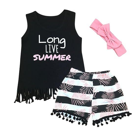 Niña Verano Vestido,Sonnena Floral impresión Camiseta de sin Manga + Rayas Hiphop Shorts para