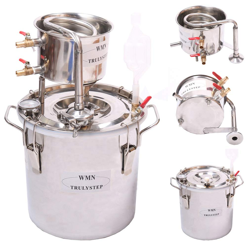 WMN_TRULYSTEP DIY Home Distiller Moonshine Still Stainless Boiler Thermometer Wine Spirits Essential Oil Water Brewing Kit (Stainless Steel, 10 Litres / 2 Gallon)