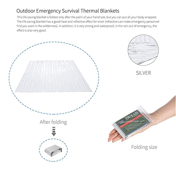 amazon com seniormar outad 20pack outdoor waterproof windproofamazon com seniormar outad 20pack outdoor waterproof windproof reusable emergency survival thermal blanket first aid sun shade ground cover silver
