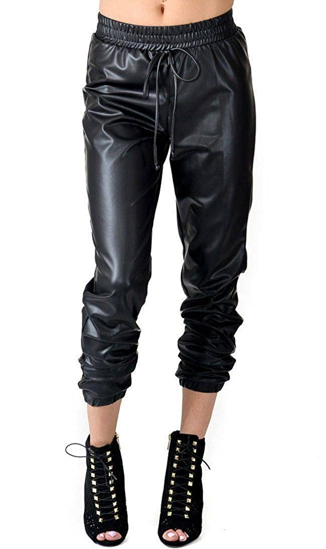 SOHO GLAM Faux Leather PU Jogger Pants with Drawstring (Plus Sohogirl.com DRWLETHR