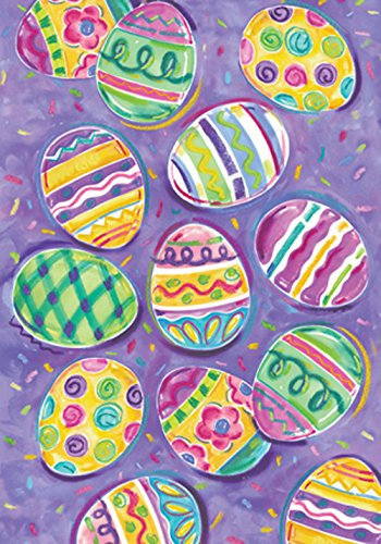 Toland Home Garden Egg Toss 12.5 x 18 Inch Decorative Colorful Painted Easter Eggs Garden ()