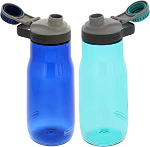 Rubbermaid Water Bottle Chug - Leak-Proof Reusable Container - Comes with Blue Ice Stick to Keep Drinks Colder Longer - BPA-Free - Great for Travel - 32 Ounces, Nautical Blue and Aqua Waters, 2 Pack