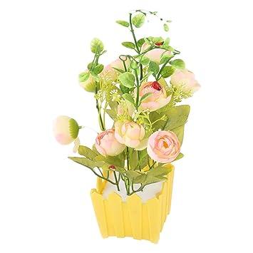 sourcing map Maceta De Plástico Con Mesa Comedor Emulación Decorativas Flores Artificiales