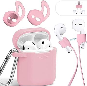Mauri - Funda para AirPods de silicona compatible con auriculares Apple Earpods 2 y 1, con soporte de carga inalámbrica y mosquetón, color rosa: Amazon.es: Electrónica
