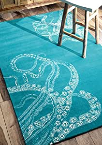 Nuloom 5' x 8' Hand Tufted Octopus Tail Rug in Blue Waters