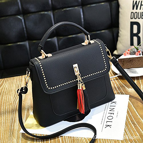 Top Crossbody Bag Women Lady PU Messenger Black Handbag Mn Handle Satchel amp;Sue Tassel Leather Decent Flap Xx0qngvwf