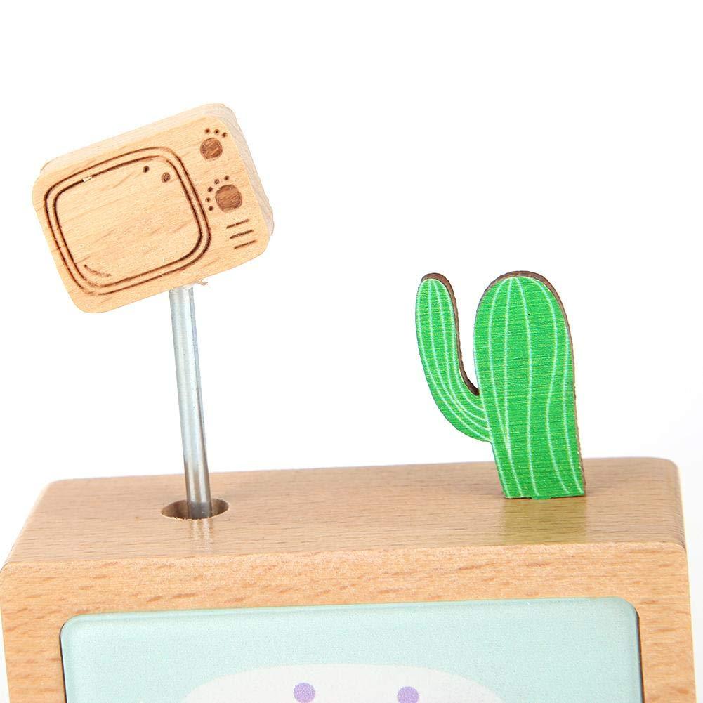 Yesheng Cactus TV Caja de m/úsica autom/ática de Madera de Haya para Regalo de cumplea/ños Music Box-A