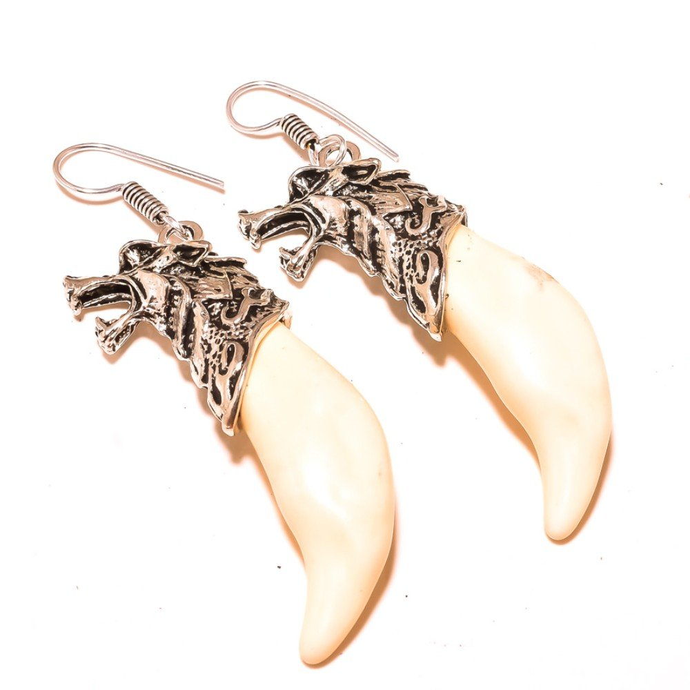 Fancy White Coral Sterling Silver Overlay 25 Grams Earring 3 Long Designer Jewelry