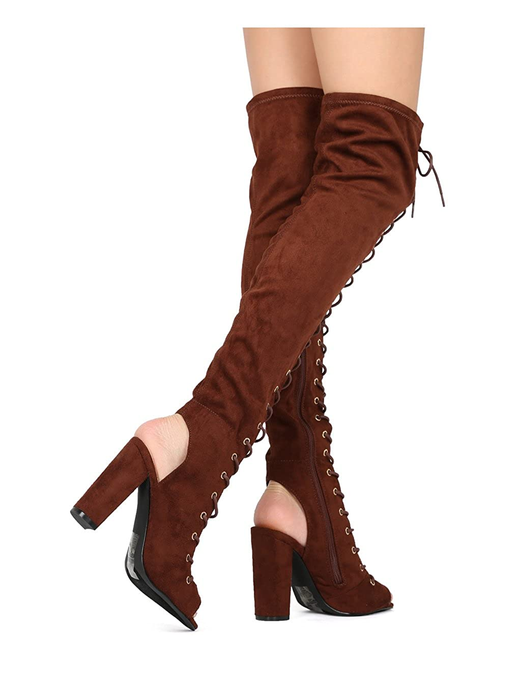 aa3f291176 Amazon.com | Alrisco Women Faux Suede Over The Knee Peep Toe Lace Up Block  Heel Boot HG10 - Brown (Size: 8.5) | Over-the-Knee