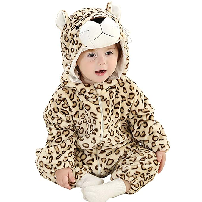 356af6a35228 Amazon.com: Zhoumei Baby Girls Hooded Pajamas Boys Onesie Outfits Leopard  Halloween Chirstmas Costume: Clothing