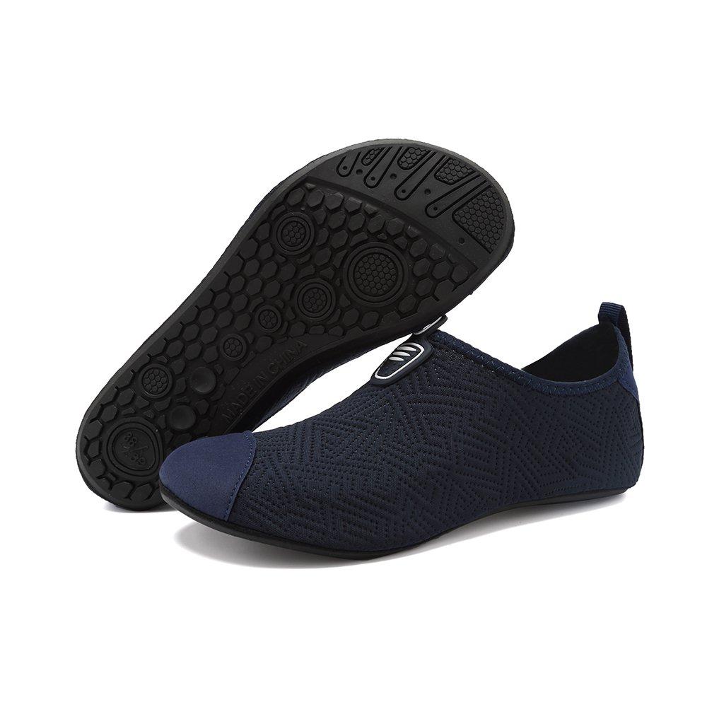 HooyFeel zapatos de agua de secado rápido antideslizante piel Aqua Yoga  calcetines descalzos zapatos de playa para hombres y mujeres Bt Darkblue 219ed6a71d2