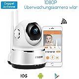 1080P HD Wlan Wifi IP Kamera Sicherheitskamera Indoor Überwachungskamera Hund IP Cam Kabellos P2P Schwenkbar Bewegungsmelder 2 Weg Audio IR Nachtsicht für Baby Haustier mit app IP Netzwerkkamera 1920 x 1080 Pixel 355°