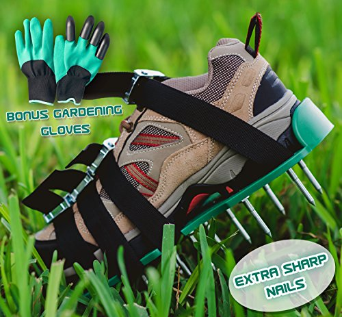 Hand Lawn Aerator (Lawn Aerator Spiked Shoes—Heavy Duty Metal buckles, 4 Adjustable Straps and Sharper Spikes for Effective Soil Aeration and Greener Yard—One Size Fits All—Includes storage bag and garden gloves)