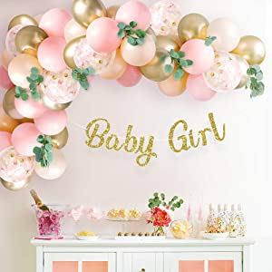Sweet Baby Co. Baby Shower Decorations For Girl With Pink Balloon Arch Garland Kit, Baby Girl Banner Decor, Eucalyptus Boho Greenery Vine, Light Pink, Peach Blush, Gold, Confetti Balloons