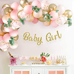 Sweet Baby Company Baby Shower Decorations for Girl with Pink Balloon Arch Garland Kit, Baby Girl Banner Decor, Eucalyptus Boho Greenery Vine, Light Pink, Peach Blush, Gold, Confetti Balloons