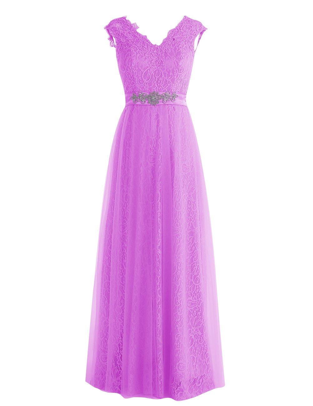 Dresstell レディーズ ロング丈 披露宴ドレス 結婚式ドレス 総レースのお呼ばれ フォーマルドレス キラキラビジュー付き ビスチェタイプ 編み上げの花嫁ワンピース 二次会ドレス ステージドレス B01LWWVXAG JP17 ペールパープル ペールパープル JP17