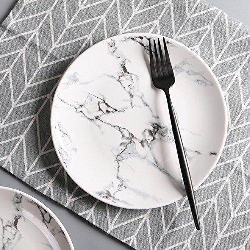 "7.5"" Natural Marble Design Ceramic Serving Platter Dining Di"