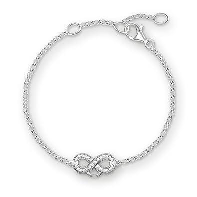 Thomas Sabo Women-Charm Bracelet Charm Club 925 Sterling Silver Zirconia white Length from 16.5 to 19.5 cm X0203-051-14-L19,5v