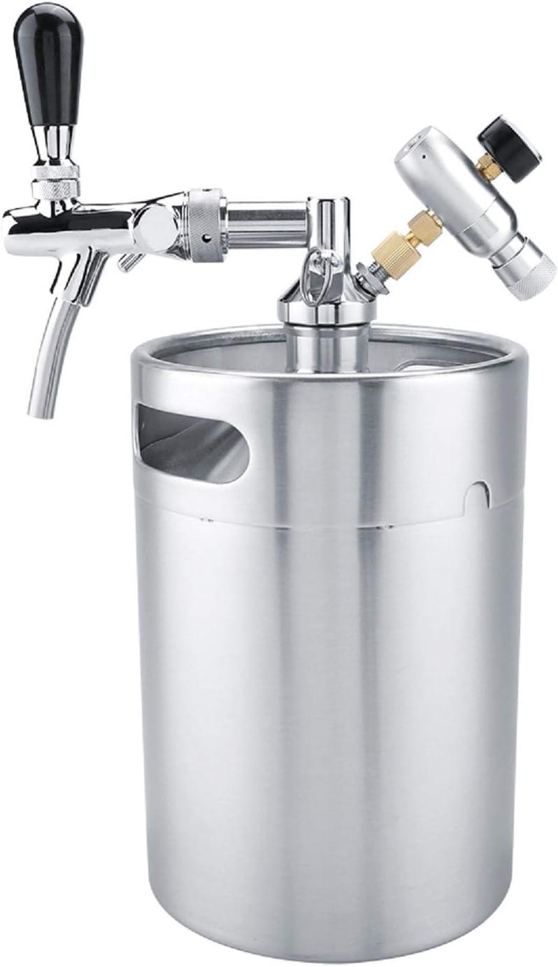 Fdit1 5L Mini Barril de Acero Inoxidable con Grifo presurizado Cerveza casera Craft Set dispensador de Cerveza Mini Barril Cerveza Cerveza casera Cerveza casera
