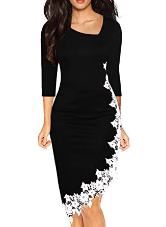 4099029929a2 Drimmaks Women Retro Chic Black 3/4 Sleeve Lace Fitted Hi-Low Knee Length