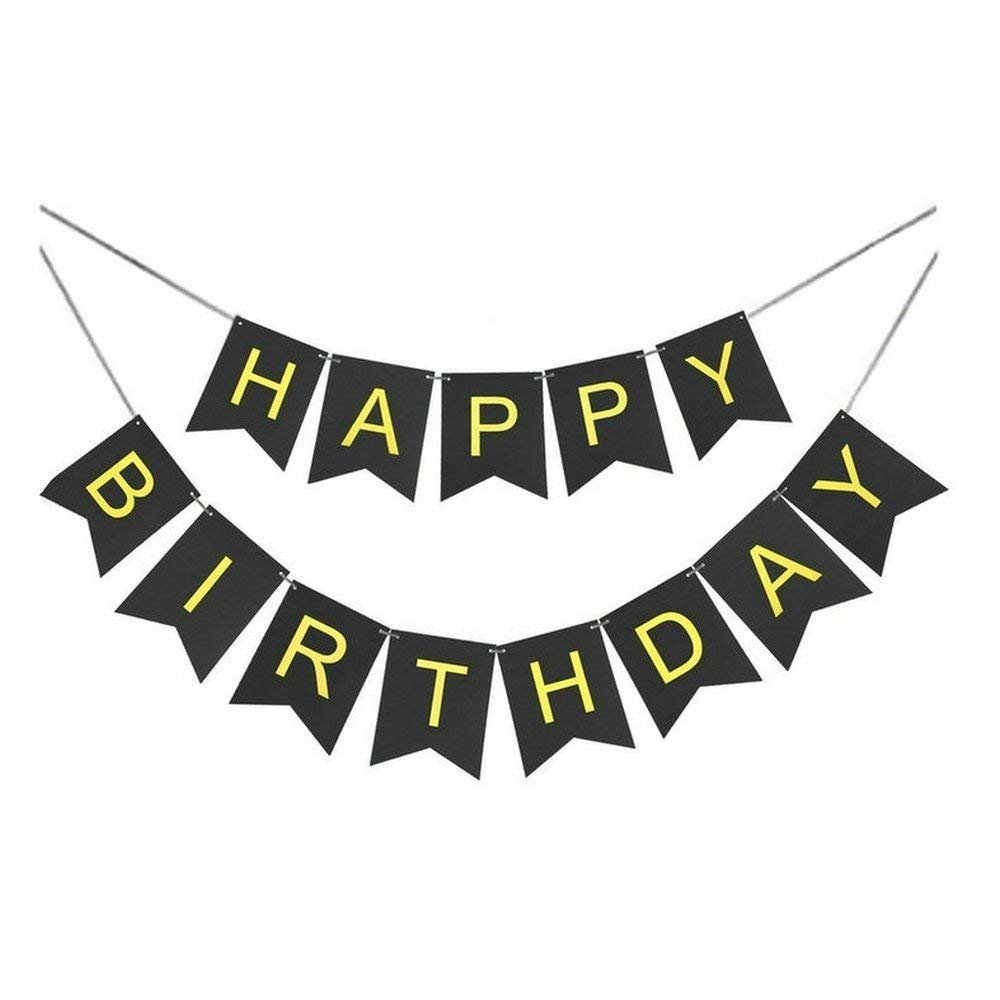 WIN-MARKET Fashion Cute Black and Gold Letters Foil Happy Birthday Bunting Banner Black And Gold Shimmer Hanging Birthday Party Decorations And Party Supplies