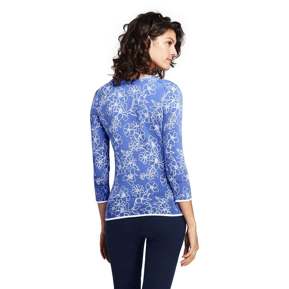 ae3646101b Lands  End Women s Supima 3 4 Sleeve Print Sweater at Amazon Women s  Clothing store