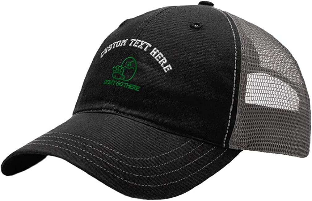 Custom Baseball Cap Dont Go There Funny Embroidery Cotton Soft Mesh Cap Snapback Black Charcoal Personalized Text Here