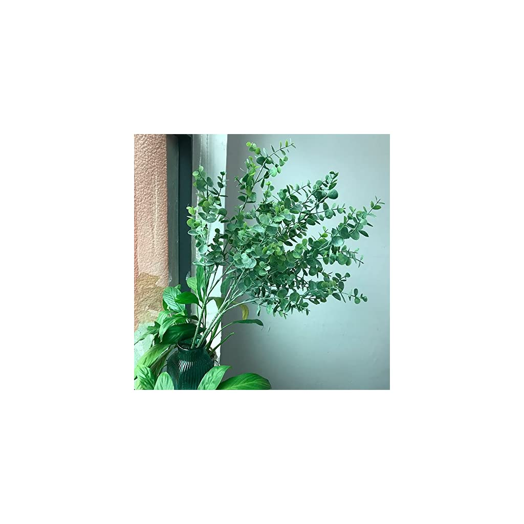 Aisamco 3 Pcs Artificial Eucalyptus Branches Plants Faux Eucalyptus Leaves Spray Artificial Greenery Floral Stems 35″ Tall in Grey Green for Wedding Party Floral Arrangement