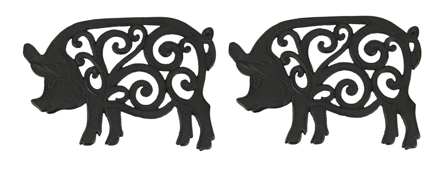 Set of 2 Decorative Cast Iron Pig Trivets by De Leon