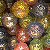 """Unique & Custom {1"""" Inch} Approx 2 Pound Set of Big """"Round"""" Clear Marbles Made of Glass for Filling Vases, Games & Decor w/ Moon Crater Speckled Shiny Textured Design [Blue, Red & Green Colors]"""