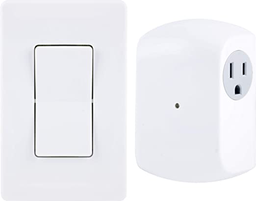 GE Wireless Remote Wall Switch Control, No Wiring Needed, 1 Grounded on switched outlet, wiring light switch from outlet, wiring a light switch and outlet diagram, electrical switch with outlet,