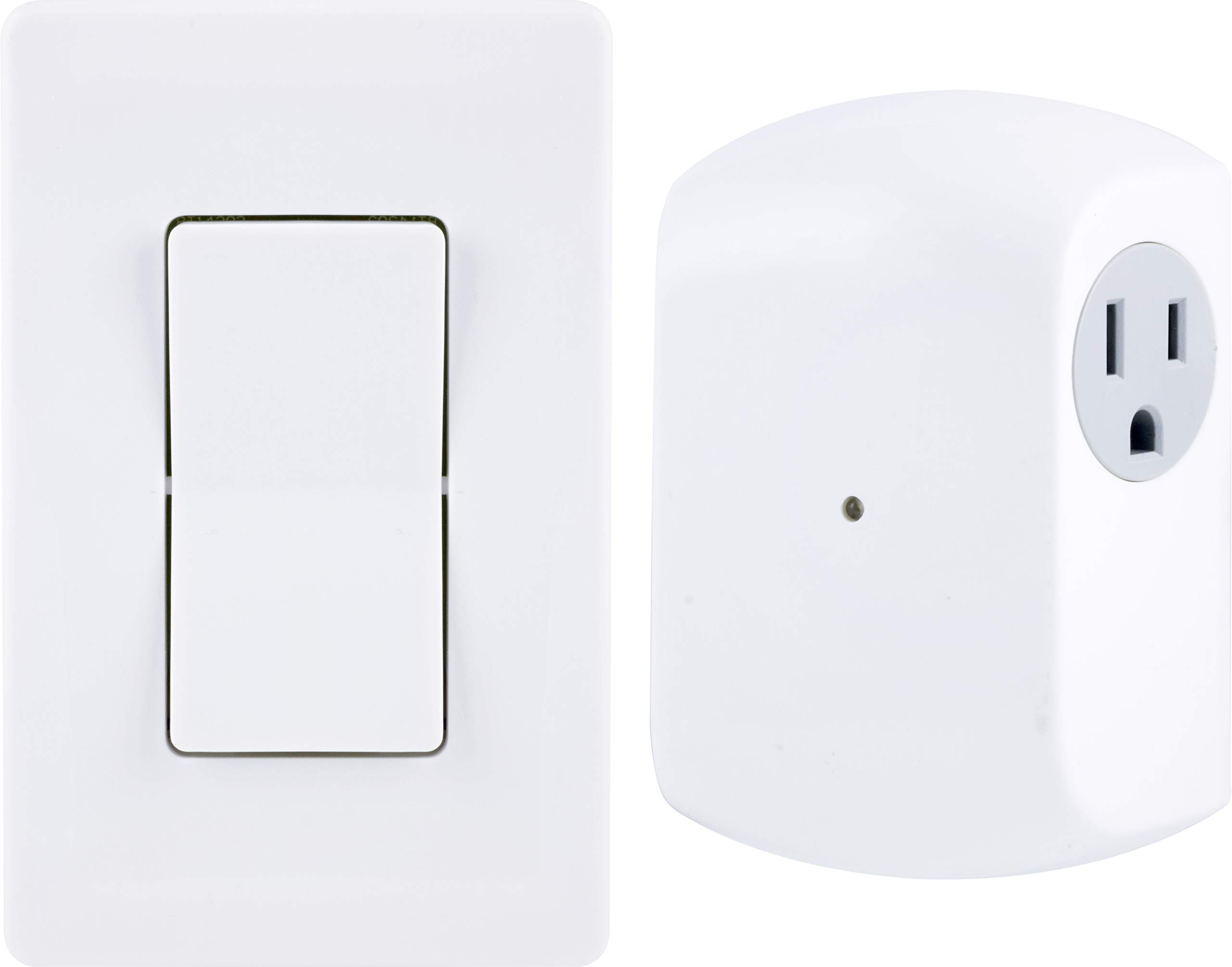 GE Wireless Remote Wall Switch Control, No Wiring Needed, 1 Grounded Outlet, White Paddle, Plug-in, Up to 100ft Range, Ideal for Indoor Lamps, Small Appliances, and Seasonal Lighting, 18279, Other by GE