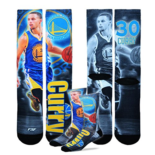 Golden State Warriors Youth Size NBA Drive Crew Kids Socks (4-8 YRS) 1 Pair - Stephen Curry by For Bare Feet