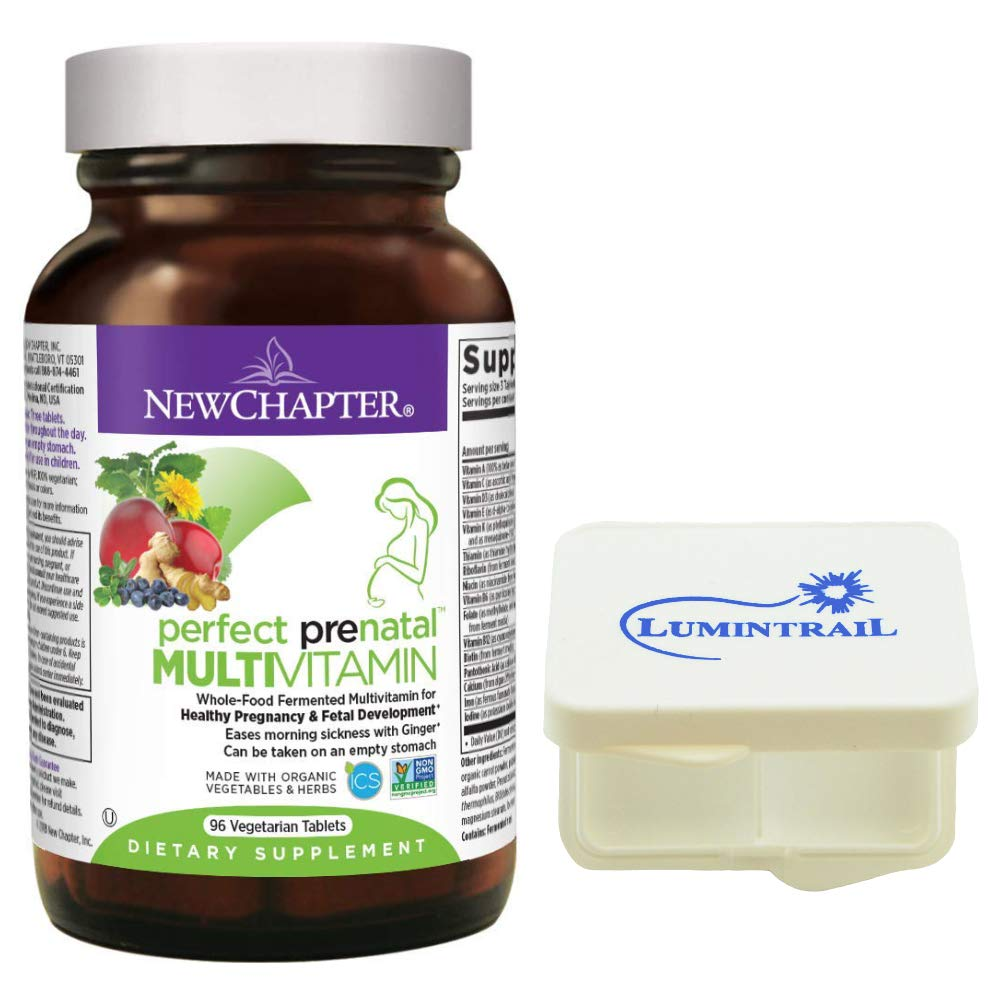 New Chapter Perfect Prenatal Vitamins, Organic Non-GMO Ingredients – Eases Morning Sickness with Ginger, Best Prenatal Vitamins for Mom Baby – 96 ct Bundle with a Lumintrail Pill Case