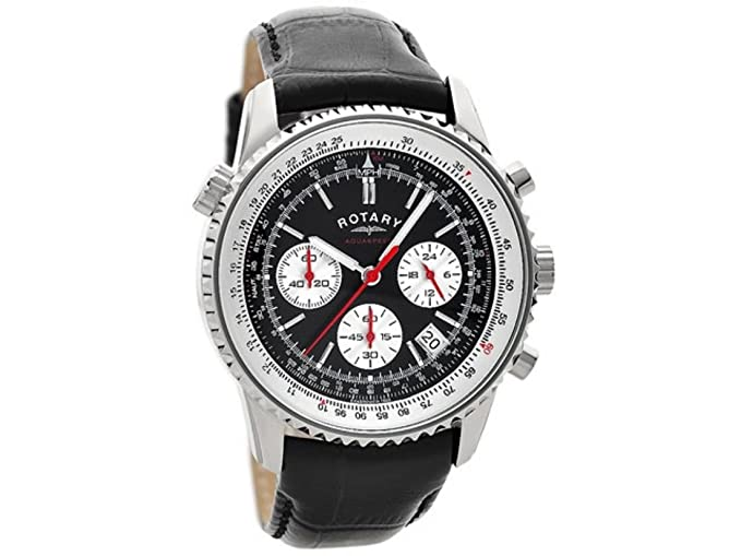 Reloj de pulsera Rotary GS00015/19 de acero inoxidable, deportivo, con correa de cuero negro: Amazon.es: Relojes