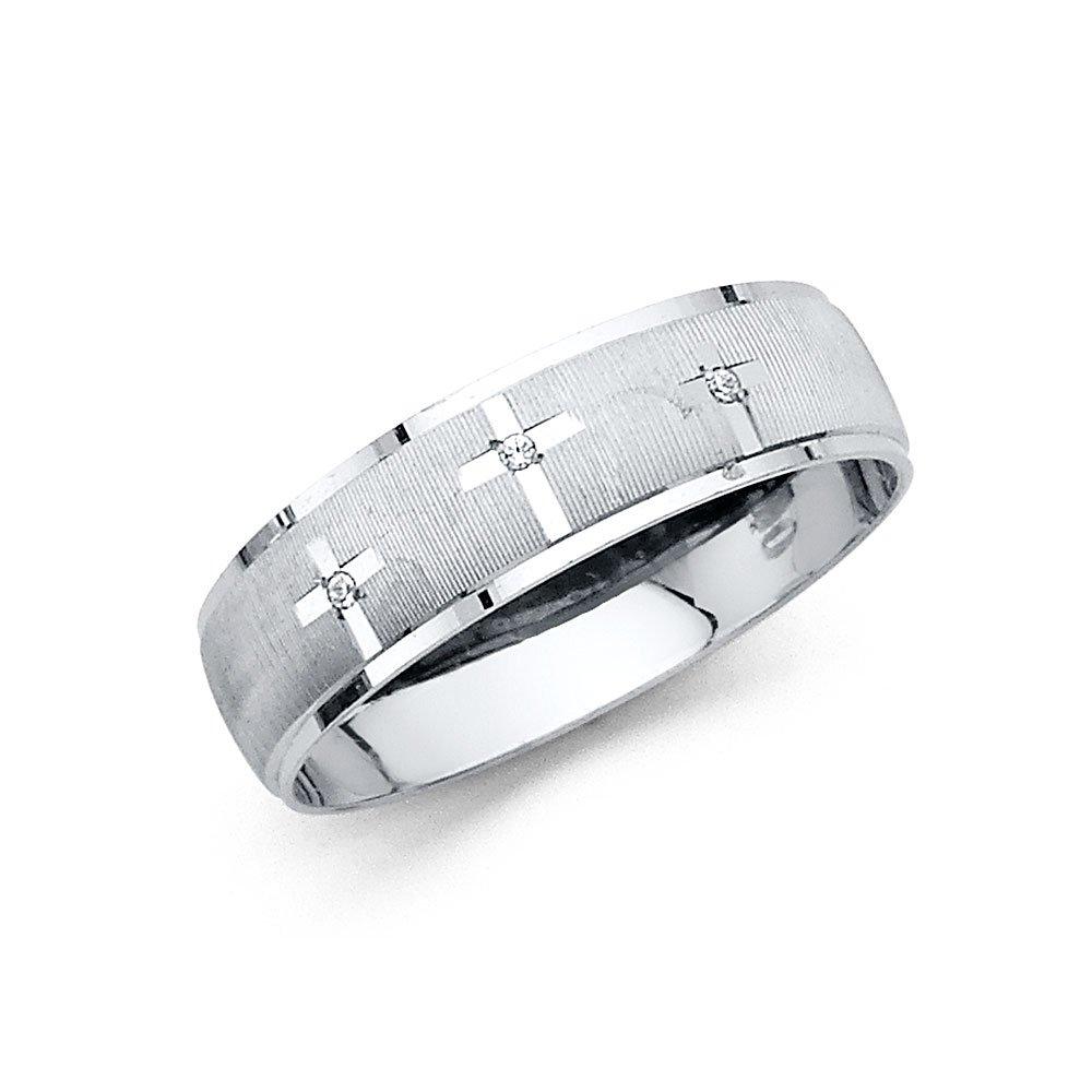 Ioka Jewelry - 14K White Solid Gold 6mm Men's Tri Cross Cubic Zirconia CZ Thin Wedding Band - size 10