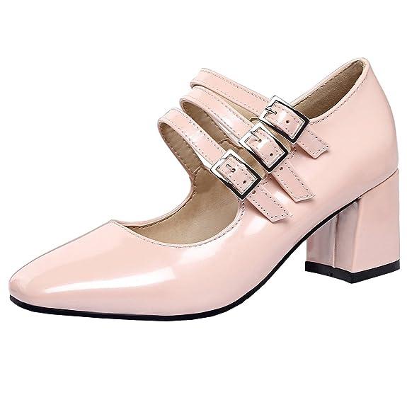 Atyche Damen Mary Jane Halbschuhe Pumps mit Blockabsatz 6cm Absatz und Riemchen Bequem Lack Schuhe